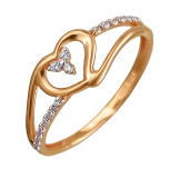 Кольцо Сердце с фианитами, красное золото
