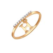 Кольцо с фианитами и подвеской буквой Н, красное золото