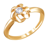 Кольцо Цветок с фианитами из красного золота