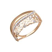 Кольцо ажурное с фианитами из красного золота