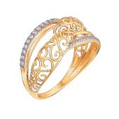Кольцо широкое с дорожками из прозрачных фианитов из красного золота 585 пробы