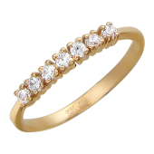 Кольцо, классика, семь круглых фианитов, красное золото, 585 проба