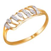 Кольцо Веточка с фианитами из красного золота