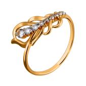 Кольцо Перо с дорожкой фианитов из красного золота 585 пробы