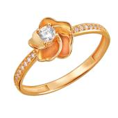 Кольцо Цветок с дорожками фианитов по бокам, красное золото 585 проба