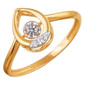 Кольцо Капля с танцующим фианитом из красного золота 585 пробы