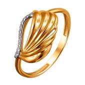 Кольцо Листок из красного золота 585 пробы