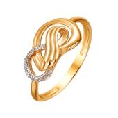 Кольцо Бесконечность с фианитами из красного золота 585 пробы