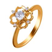 Кольцо Сердце с фианитами из красного золота 585 пробы