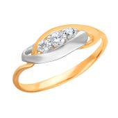 Кольцо с фианитами из красного золота 585 пробы