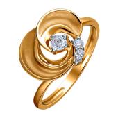Кольцо Цветок с фианитами из красного золота 585 пробы