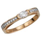 Кольцо Дорожка с фианитами из красного золота 585 пробы