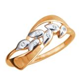 Кольцо Веточка с фианитами из красного золота 585 пробы