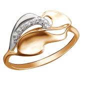 Кольцо Листок с фианитом из красного золота 585 пробы
