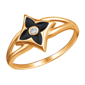 Кольцо Клевер с эмалью и фианитом из красного золота 585 пробы