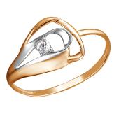 Кольцо с фианитом из красного золота 585 пробы