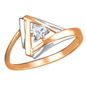 Кольцо Треугольник с фианитом из красного золота 585 пробы