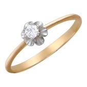 Кольцо, узкая шинка, цветок с большим фианитом, красное золото 585 проба