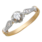 """Кольцо, """"Цветок"""" классика с большим фианитом, красное золото, 585 проба"""