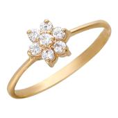 Кольцо, цветок, семь круглых фианитов, красное золото, 585 проба