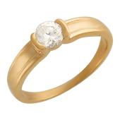 Кольцо, один большой круглый фианит, средняя шинка, красное золото, 585 проба