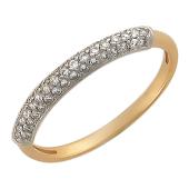 Кольцо усыпано фианитами, три ряда фианитов, красное золото