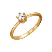 Кольцо для помолвки с одним фианитом из красного золота