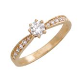 Кольцо с крупным фианитом по центру и дорожкой фианитов, красное золото