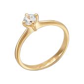 Кольцо для помолвки с одним крупным фианитом, красное золото