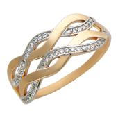 Кольцо Волны с фианитами, красное золото
