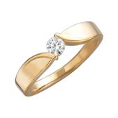 Кольцо с круглым фианитом и плавными линиями, красное золото