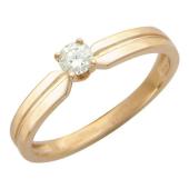 Кольцо с одним круглым фианитом, красное золото
