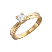 Кольцо Солитер с фианитом, красное золото