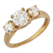 Золотое кольцо, красное золото, три фианита алмазной огранки