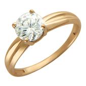Кольцо для помолвки с крупным фианитом, красное золото