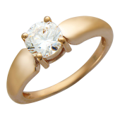 Золотое кольцо, классическое утолщенное, с крупным фианитом в центре на четырех держателях