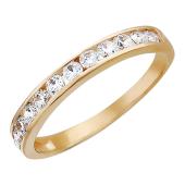 Золотое кольцо, классическое, дорожка из 12 фианитов, красное золото