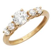 Золотое кольцо, классическое утолщенное, фианит, пять вставок