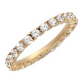 Золотое кольцо, красное золото, фианиты по всей окружности