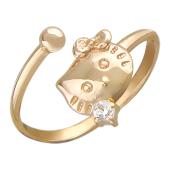 """Кольцо """"Кошка с бантиком"""" Hello Kitty, красное золото, 585 проба"""