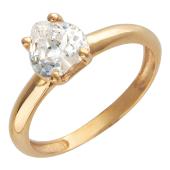Кольцо классическое, один фианит в форме сердца, красное золото 585 проба