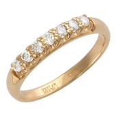 Кольцо Дорожка с фианитами из красного золота