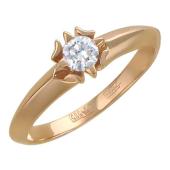 Кольцо с одним фианитом, красное золото