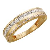Кольцо из красного золота, две дорожки с фианитами