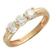Золотое кольцо, классика с фианитами, красное золото