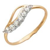 Золотое кольцо, волна с фианитами, красное золото