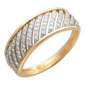 Кольцо Дорожки с фианитами, красное золото