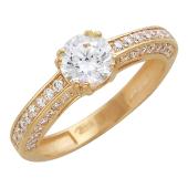 Кольцо с дорожкой из фианитов и большим фианитом в центре для помолвки, красное золото