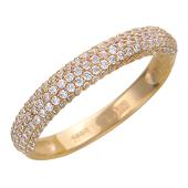 Кольцо Дорожка с фианитами, красное золото 585 проба