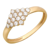 Кольцо, вытянутый ромб с фианитами, красное золото, 585 проба